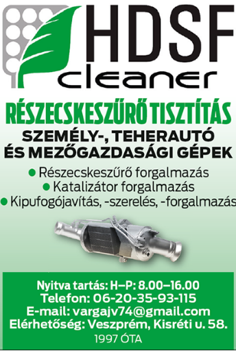 Részecskeszűrő tisztítás Veszprém - HDSF Cleaner